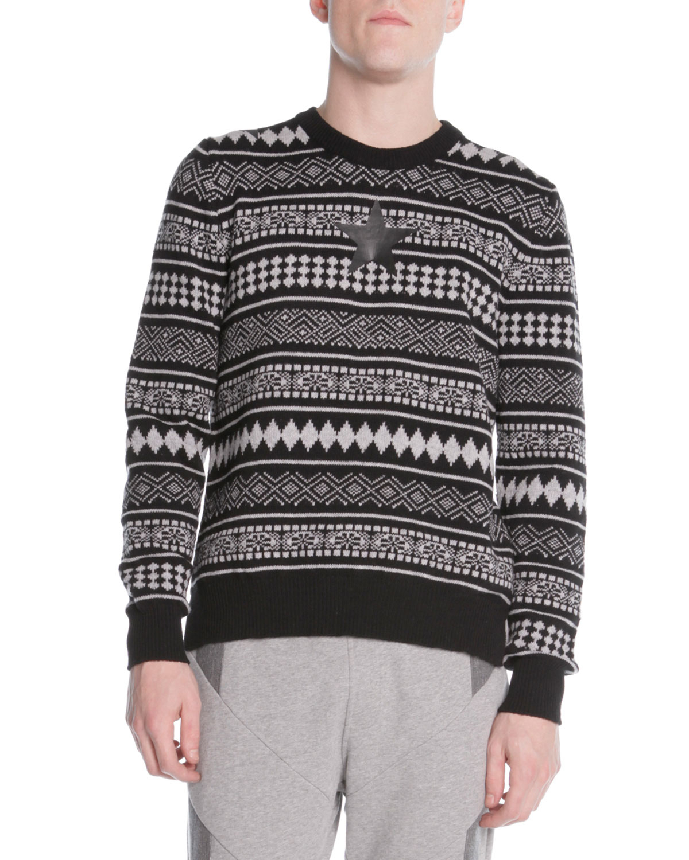 88edb492ac9 Givenchy Striped Fair Isle Sweater in White for Men (BLACK WHITE)