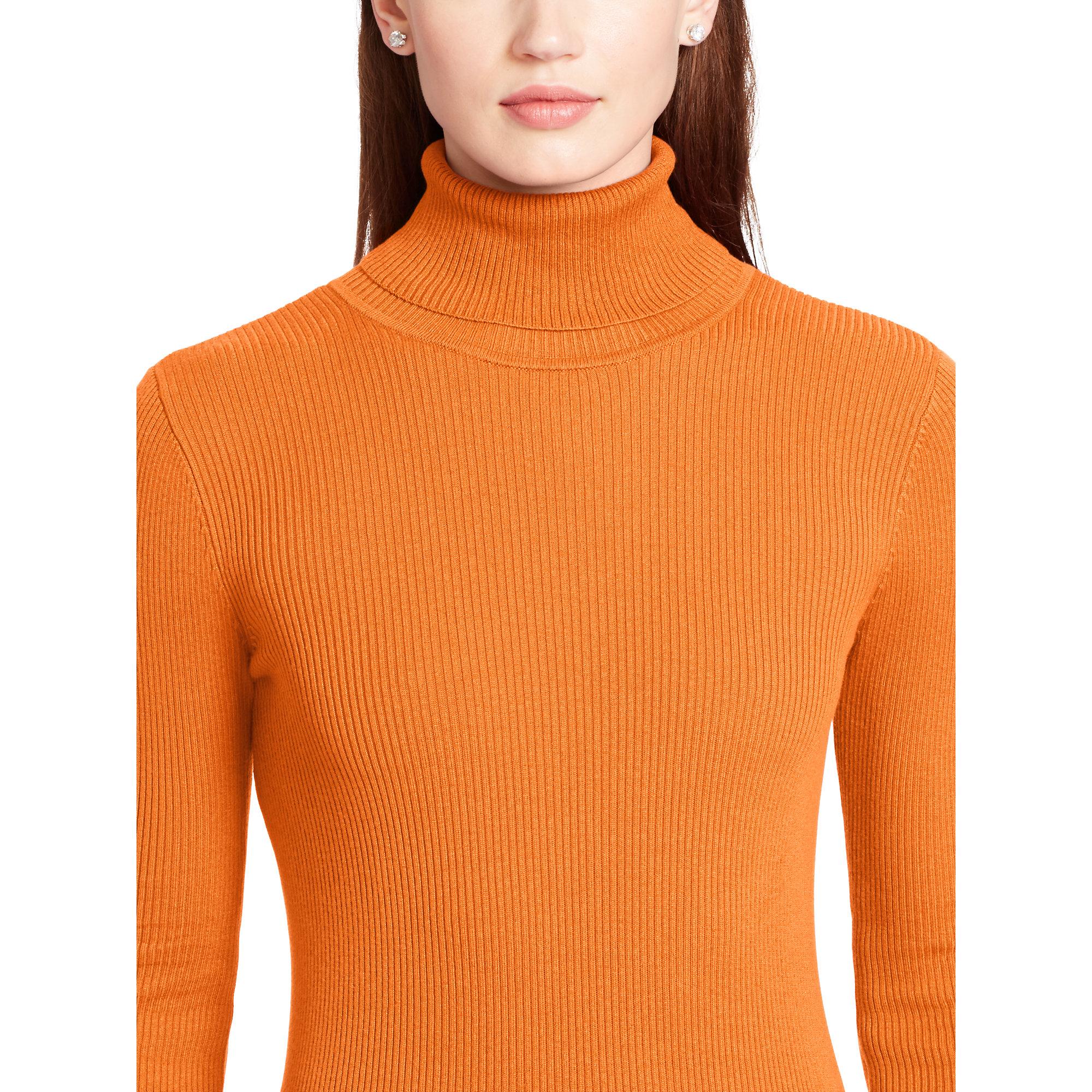 Ralph lauren Ribbed Turtleneck Sweater in Orange | Lyst