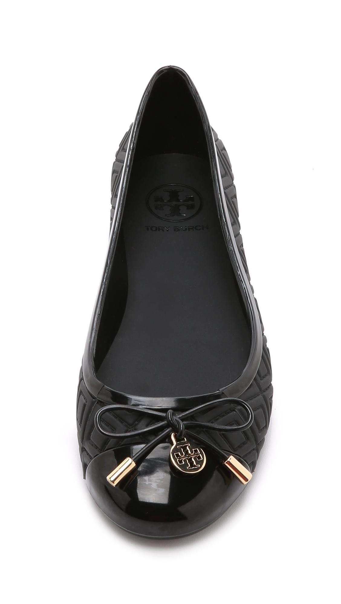 9f29ed741 ... closeout lyst tory burch jelly ballet flats black in black cbf0e bf16e