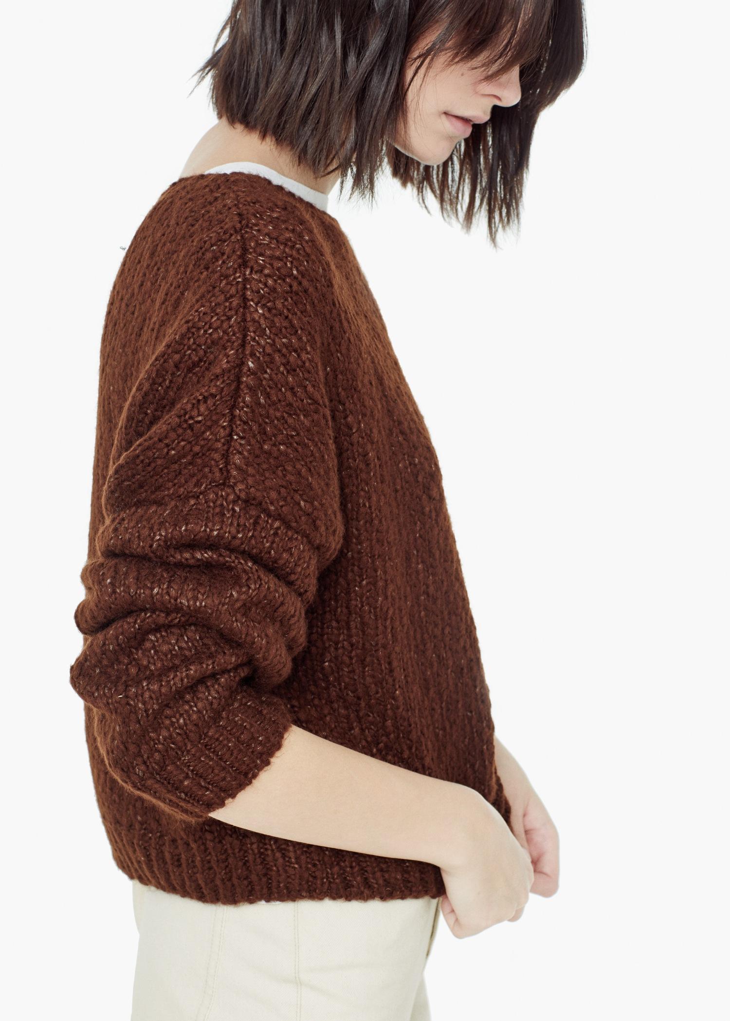 Lyst Mango Bouclé Sweater In Brown