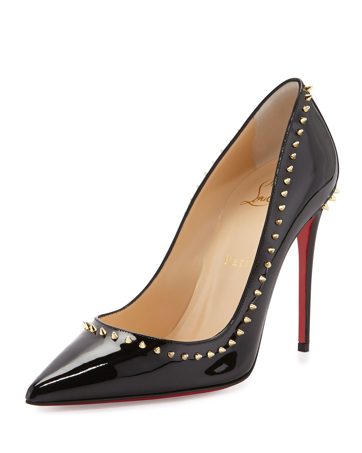 cheap louboutin shoes knockoffs - Christian louboutin Anjalina Studded Patent Leather Pumps in Gold ...