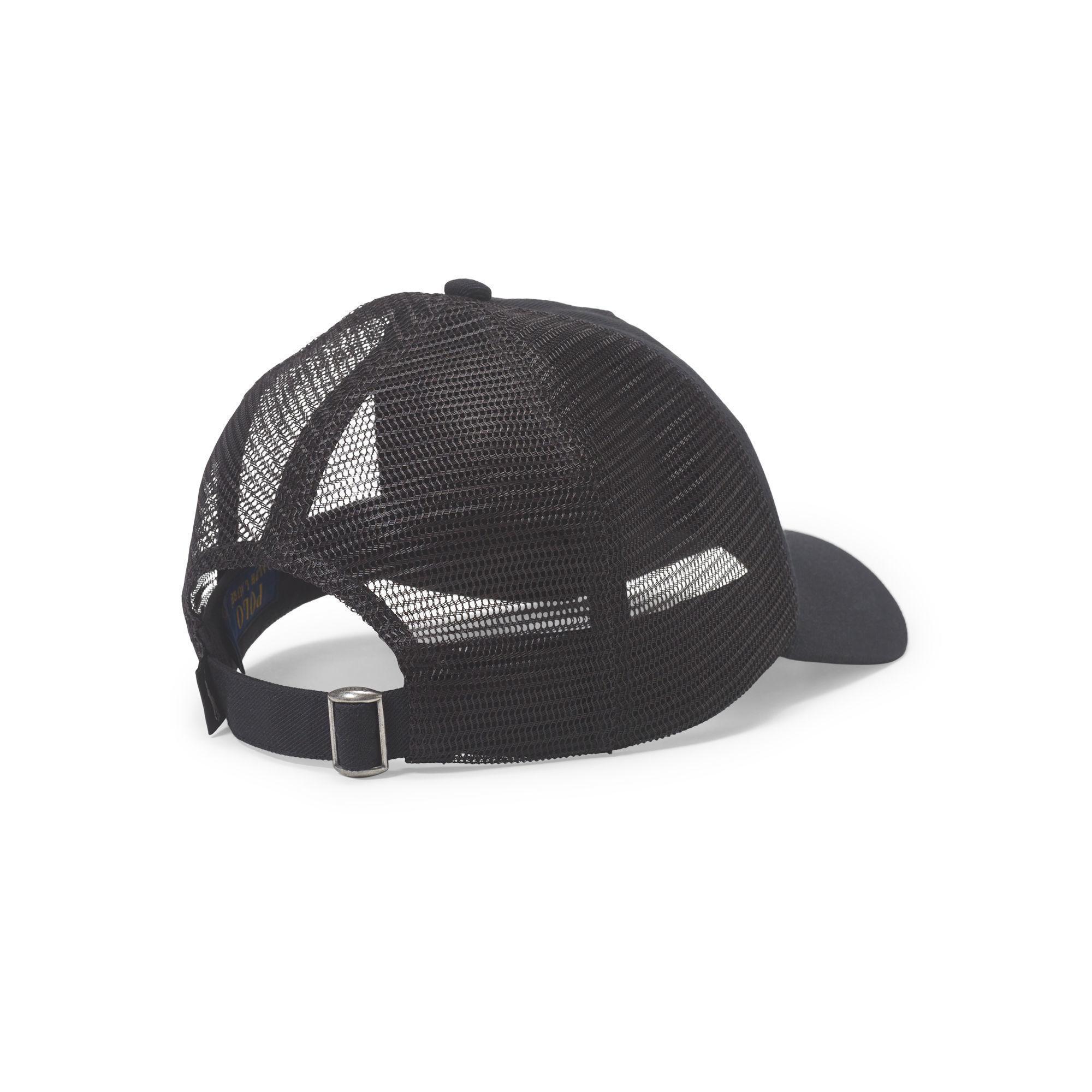 1aaf0dc675b Polo Ralph Lauren Sporty Mesh Trucker Hat in Black for Men - Lyst