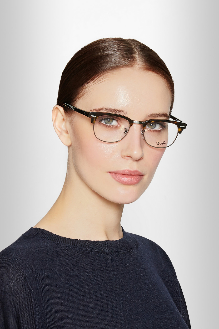 Ray Ban Havana Clubmaster Acetate Optical Glasses In Gray