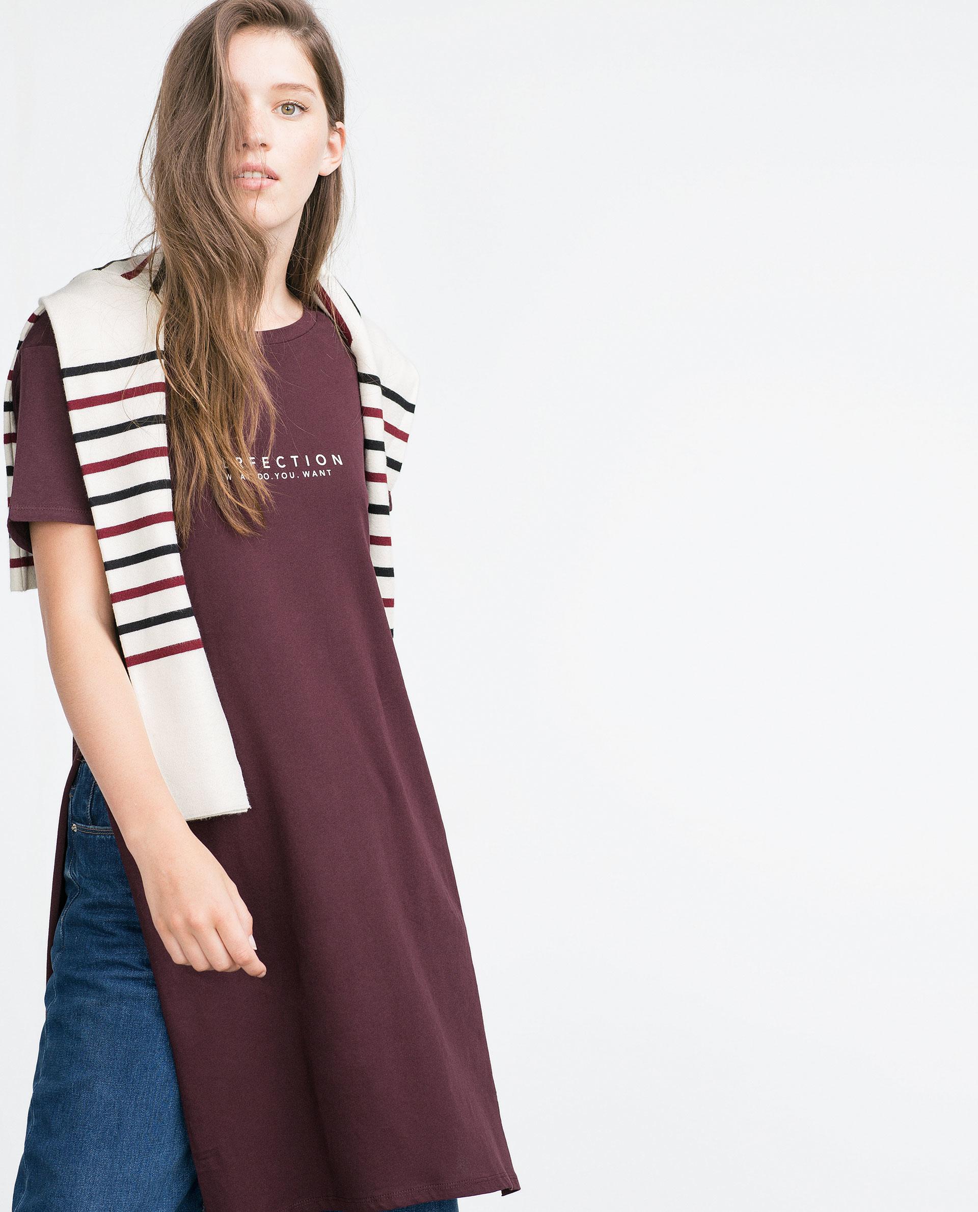 Zara long text t shirt in purple burgundy lyst for Zara black t shirt dress