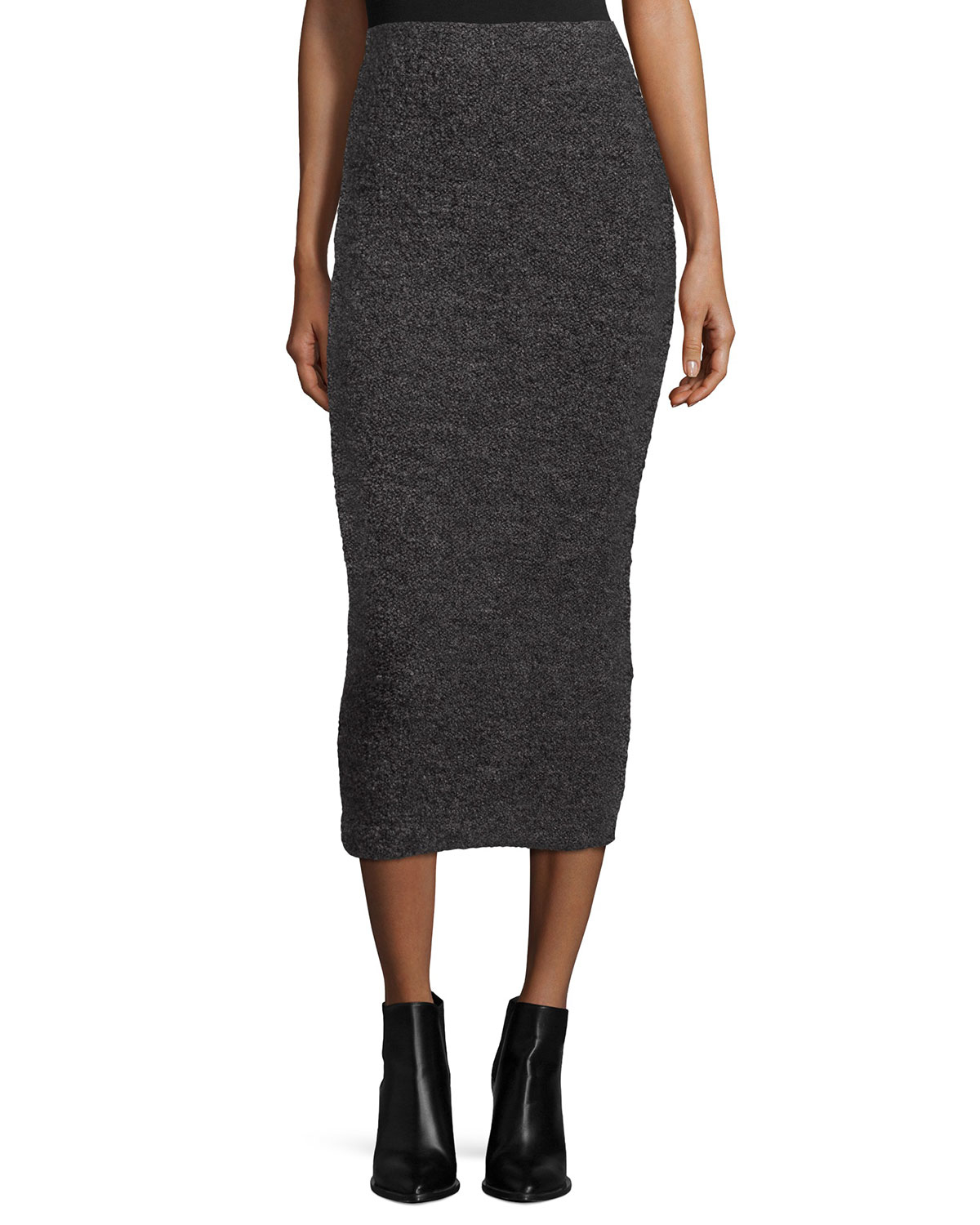 elizabeth and eliza fitted midi skirt in gray