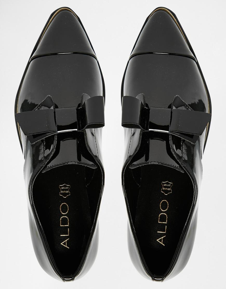 Aldo Gazoldo Black Patent Flat Shoes In Black Lyst