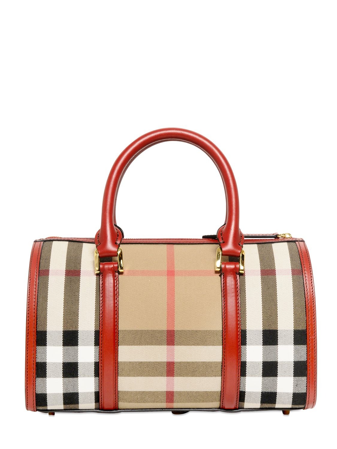 1c5426e78650 Lyst - Burberry Medium Alchester Bridle House Check Bag in Red
