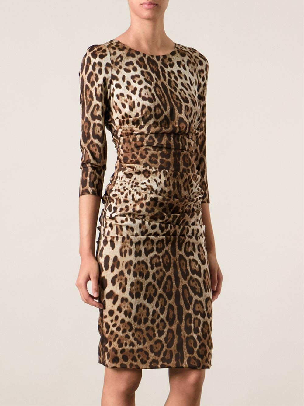 Lyst Dolce Amp Gabbana Leopard Print Dress In Brown