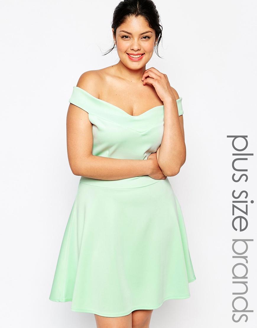 Praslin Plus Size Scuba Bardot Skater Dress in Green - Lyst