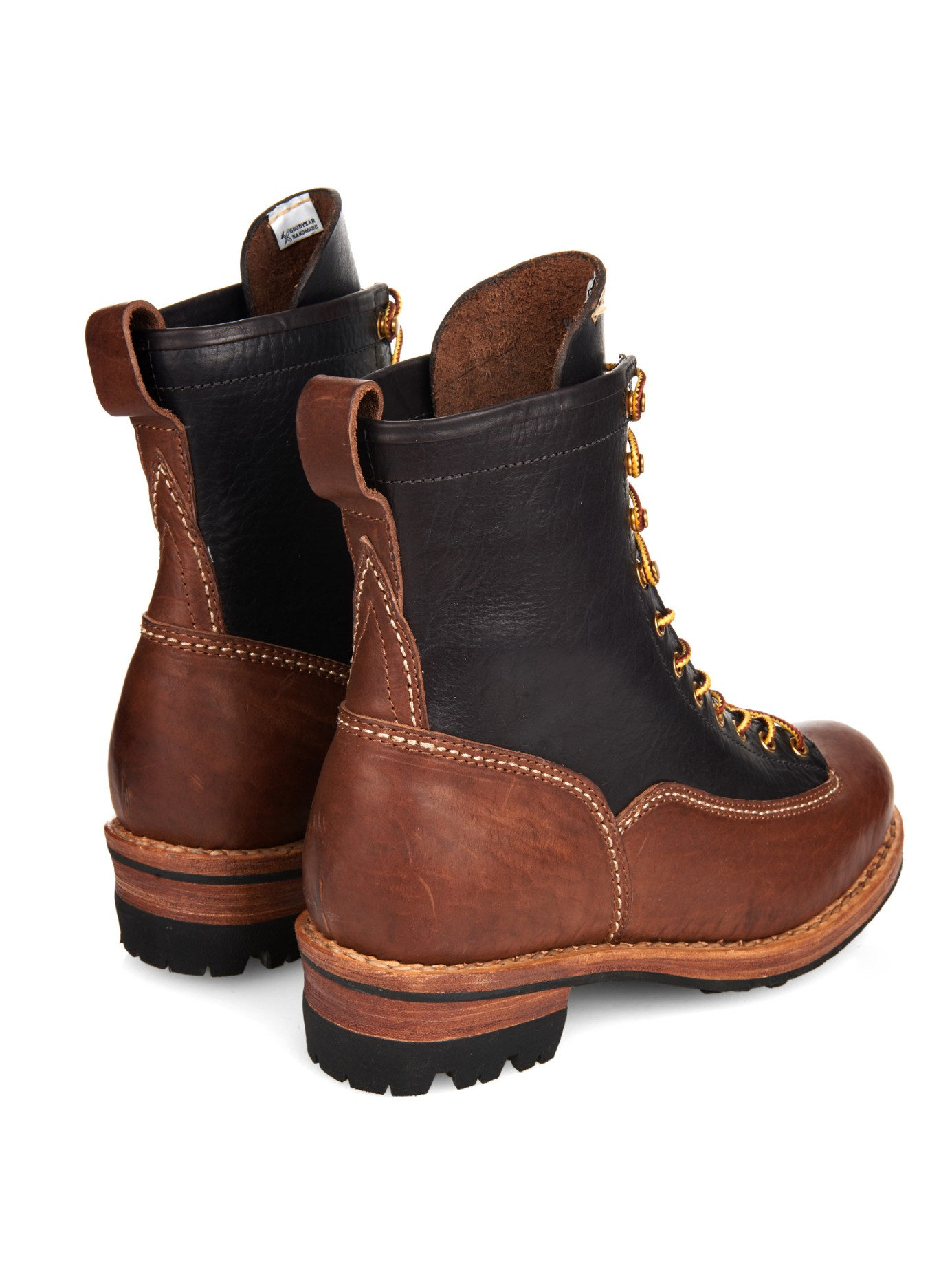 Lyst Visvim Two Tone Leather Ankle Boots In Brown