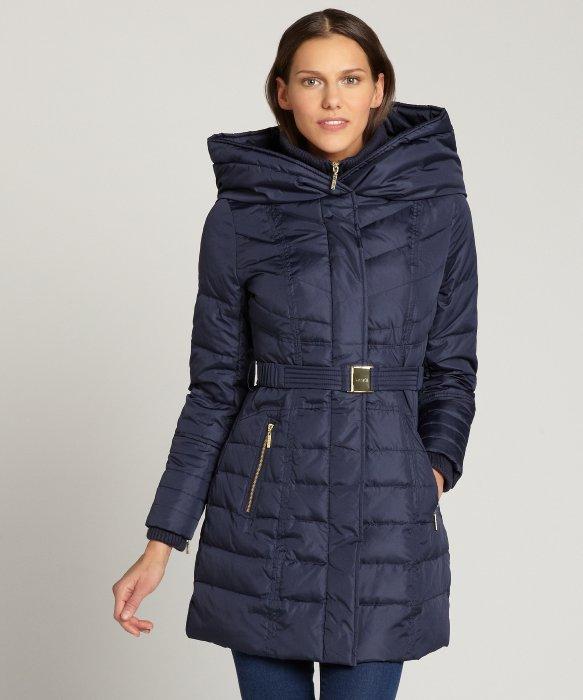 Kensie Navy Hooded Zip Bib Belted Down Coat in Blue | Lyst