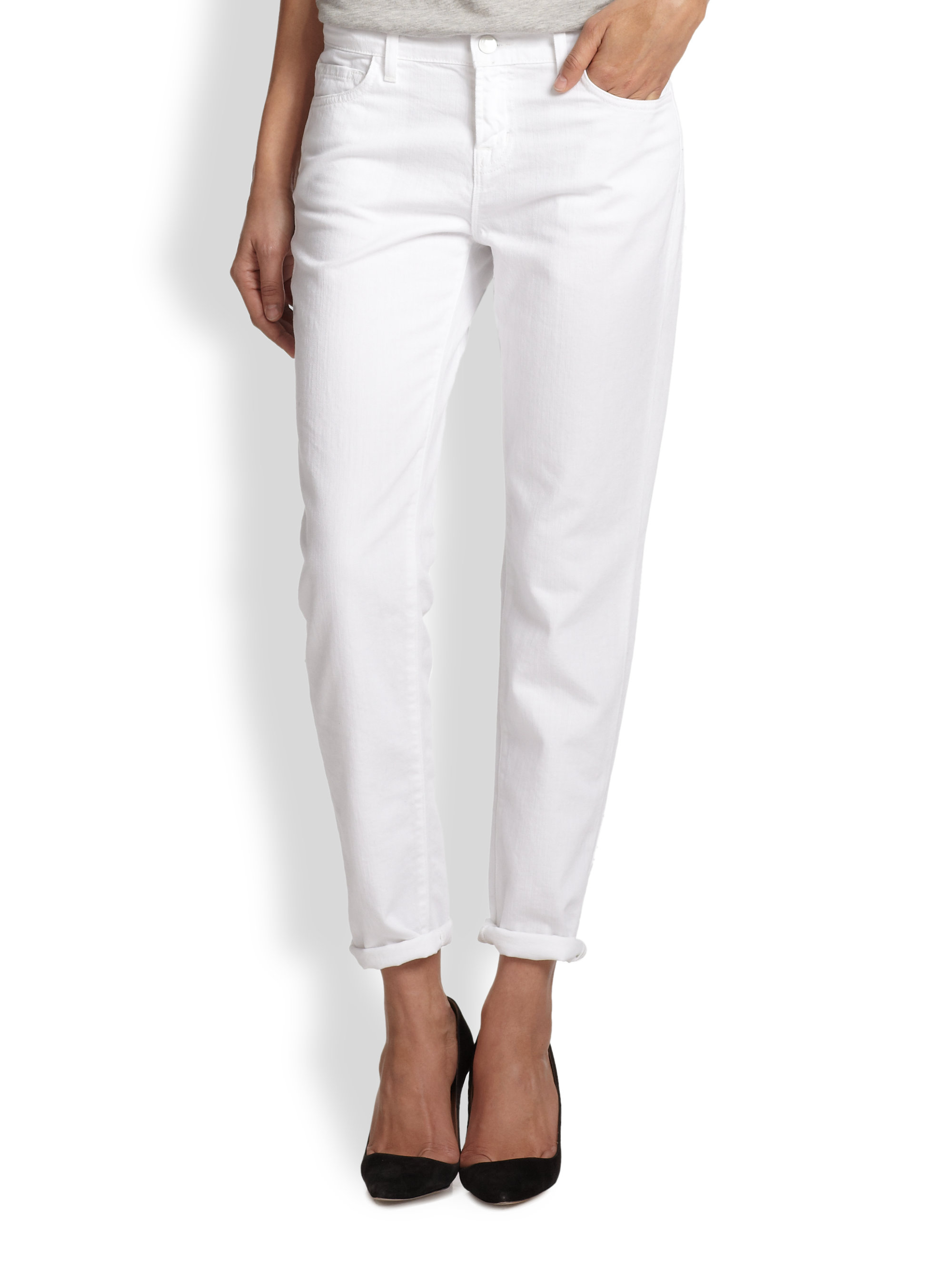J brand Jake Slim-Fit Boyfriend Jeans in White | Lyst
