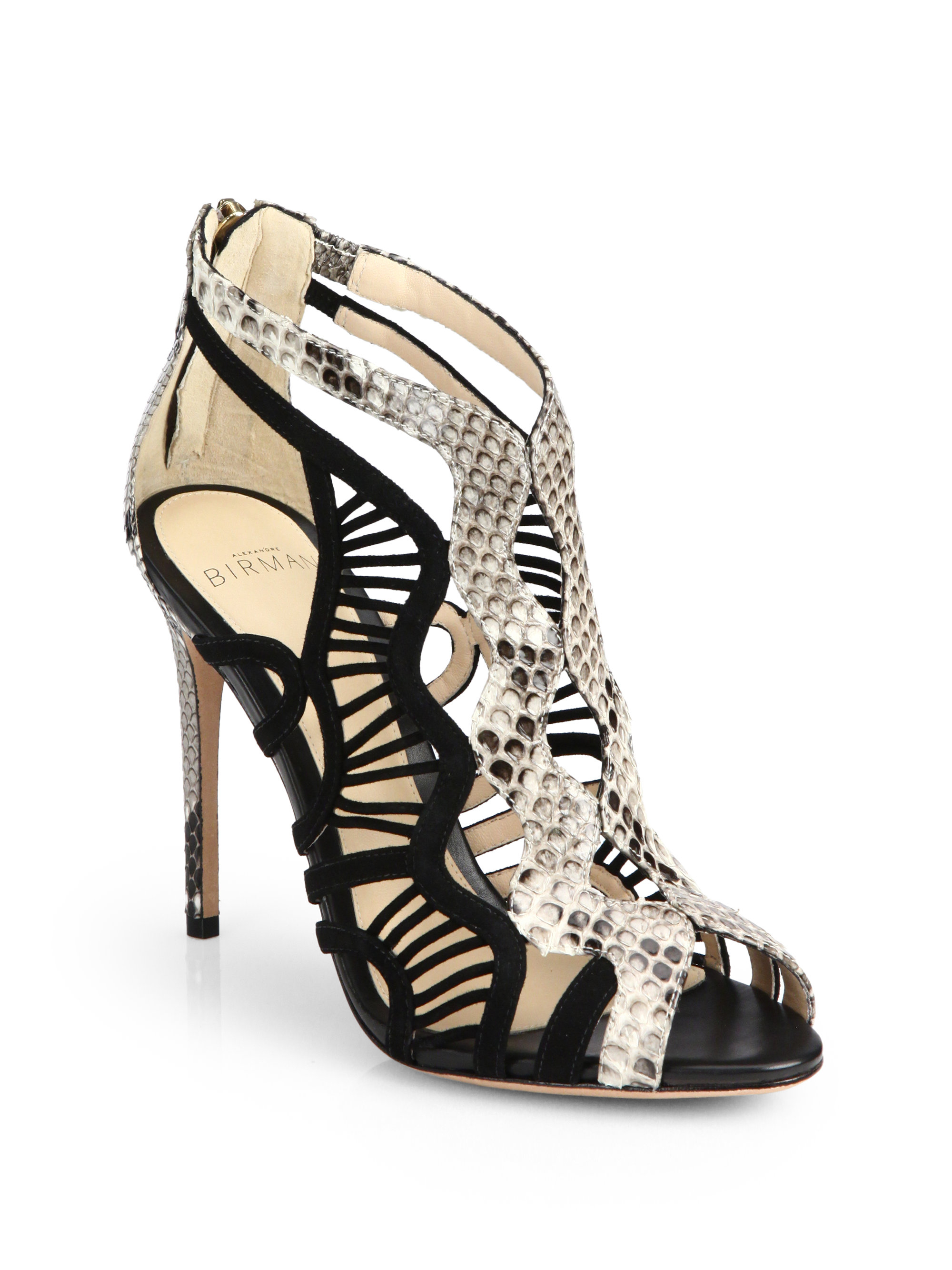 Alexandre Birman Snakeskin Caged Booties shop online cheap sale marketable shipping discount authentic dV6uTh