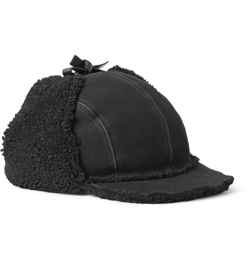 Gucci Hats For Men: Gucci Shearling Trapper Hat In Black For Men