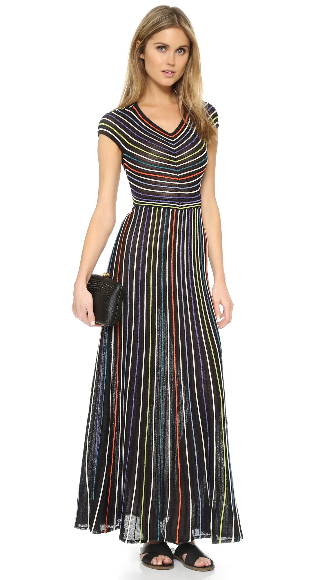 M missoni Micro Stripe Maxi Dress in Black  Lyst