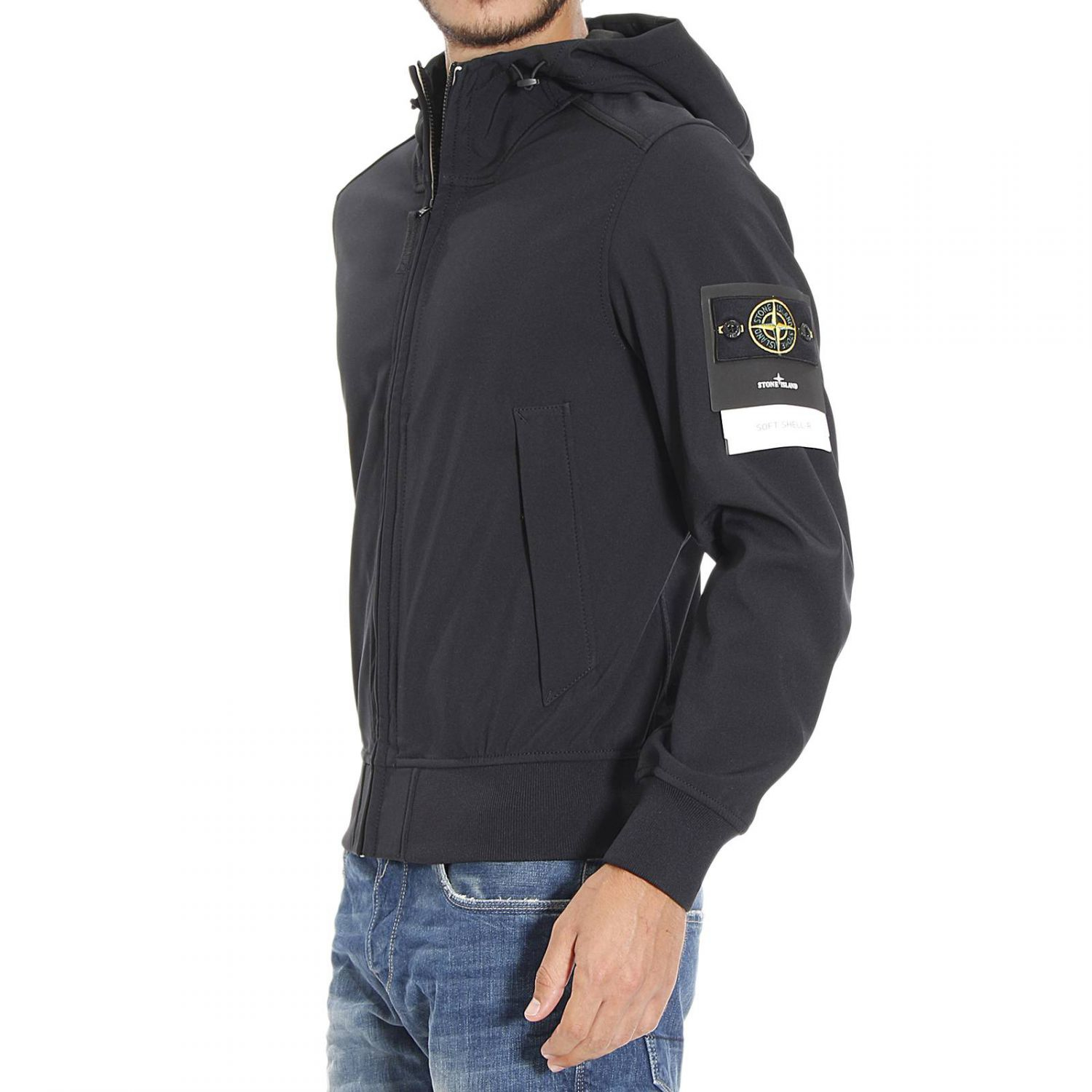 stone island down jacket zip hood zip soft shell 3 strati in black for men lyst. Black Bedroom Furniture Sets. Home Design Ideas