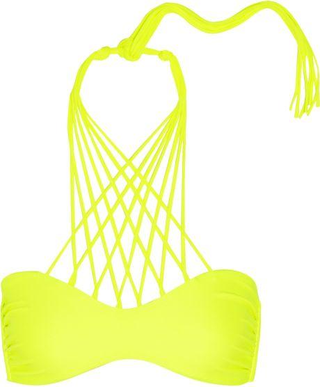Mikoh Swimwear Kahala Neon Crossover String Bikini Top in ...