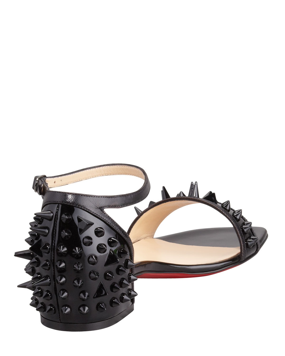 Christian Louboutin Druide Spiked Patent Flat Sandal In
