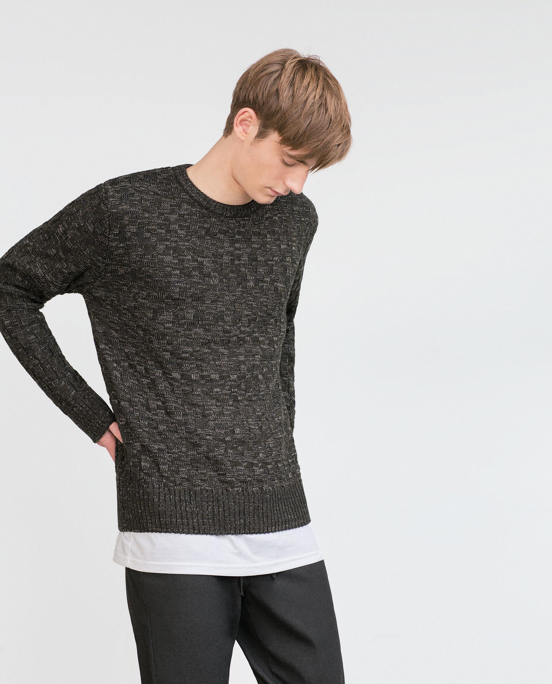 Zara Twist Knit Sweater in Green for Men