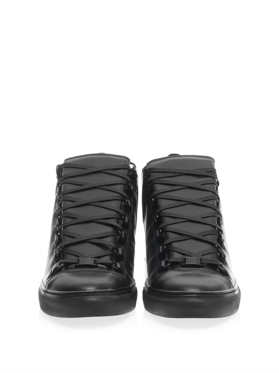 Lyst - Balenciaga Arena Leather High Top Sneakers in Black for Men 1a3b9af52ca1