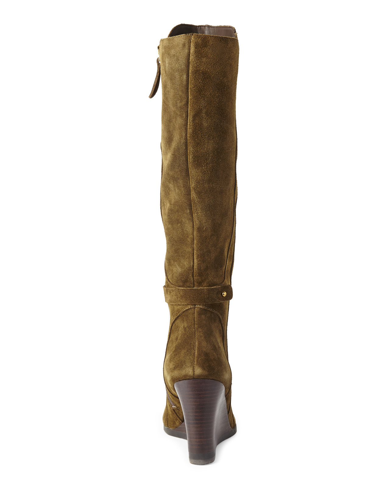franco sarto olive wedge boots in green lyst