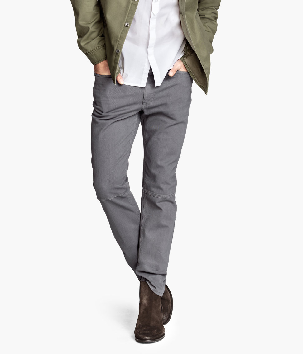 H&m Twill Trousers Slim Fit in Gray for Men | Lyst