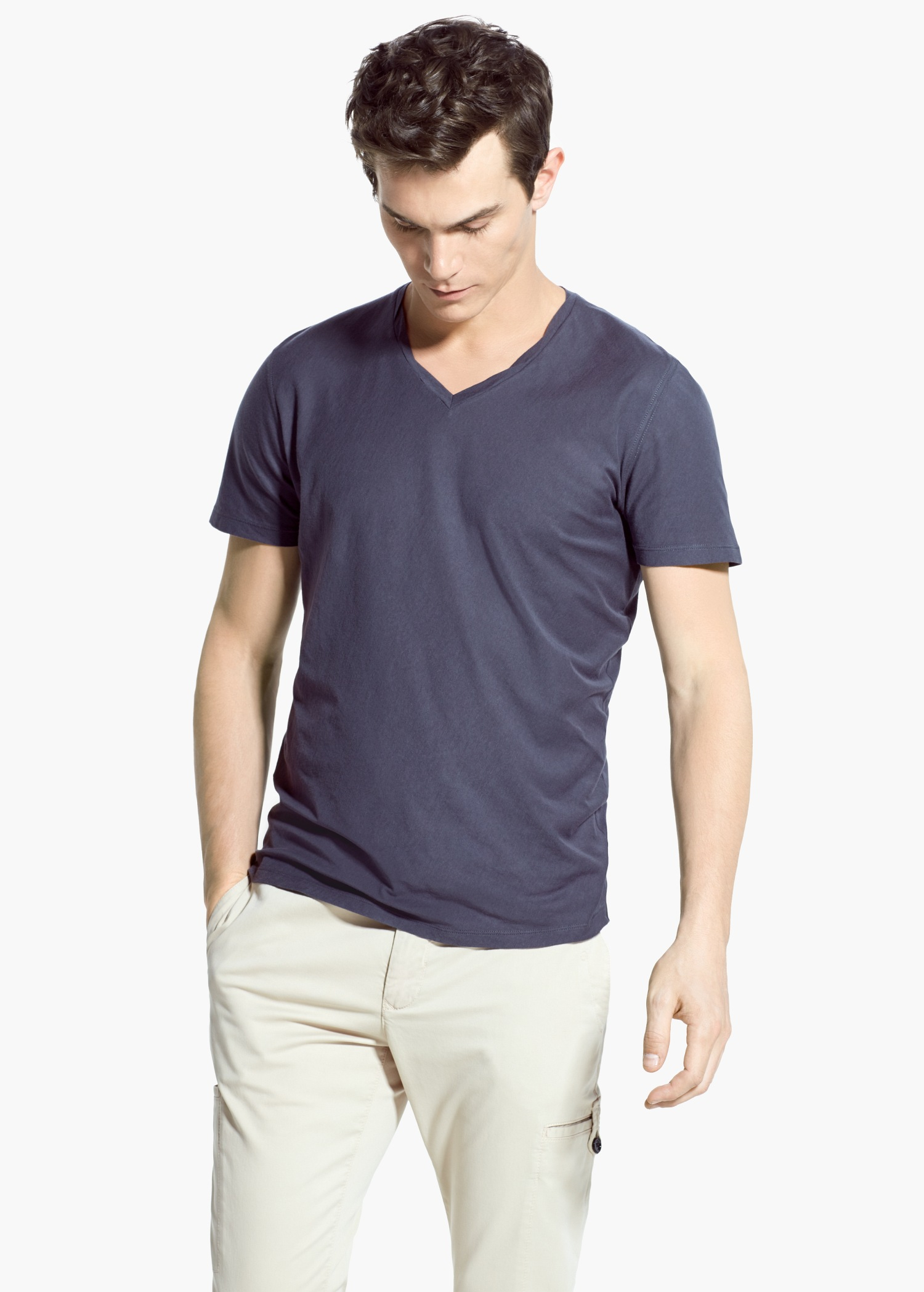 Lyst mango soft egyptian cotton t shirt in gray for men for Soft cotton dress shirts