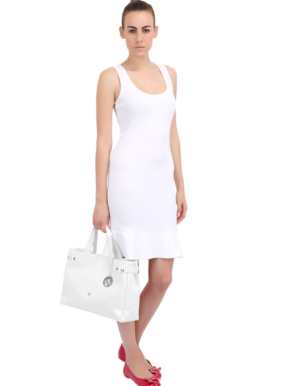 Lyst - Armani Jeans Medium Embossed Logo Patent Vinyl Bag in White 917be27017087