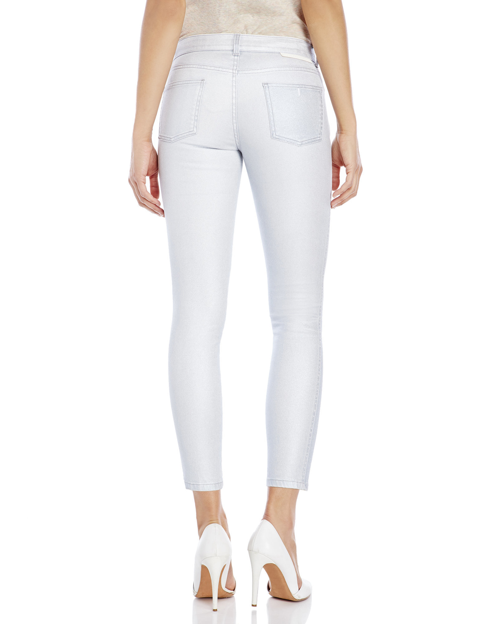 Silver Cropped Jeans - Jon Jean