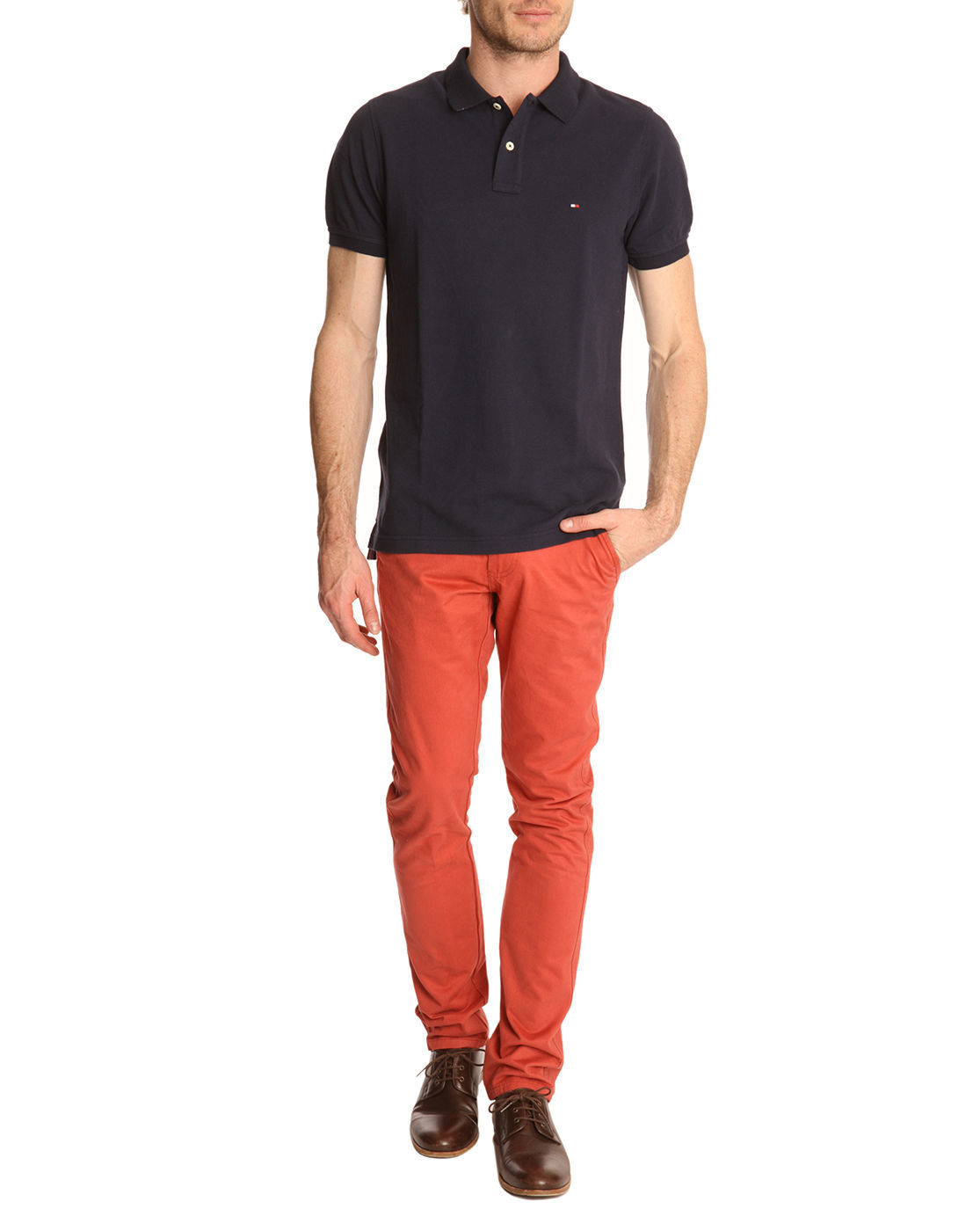 tommy hilfiger slim fit navy polo shirt contrasting collar in blue for. Black Bedroom Furniture Sets. Home Design Ideas