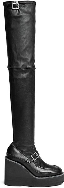 sacai black thigh high leather loafer wedge boots lyst