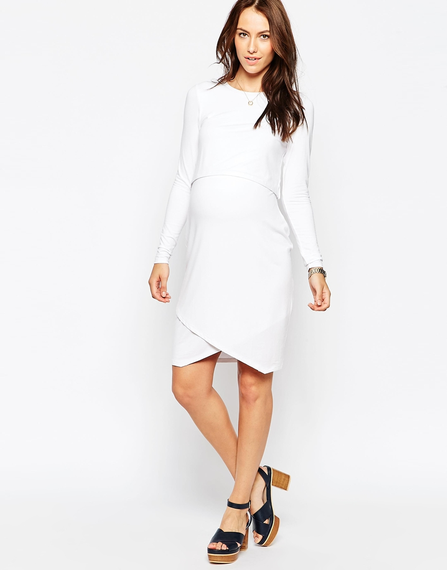 Asos double layer asymmetric bodycon dress with long sleeves in gallery ombrellifo Image collections