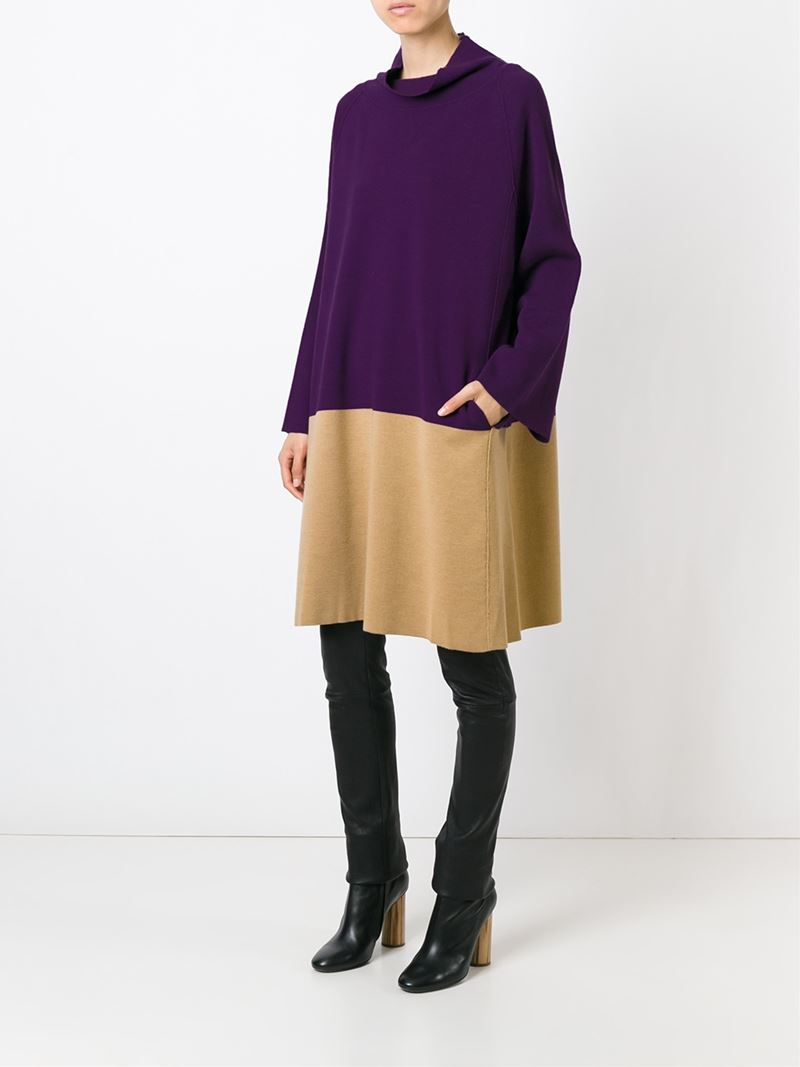 lyst antonio marras colour block knit dress in purple. Black Bedroom Furniture Sets. Home Design Ideas