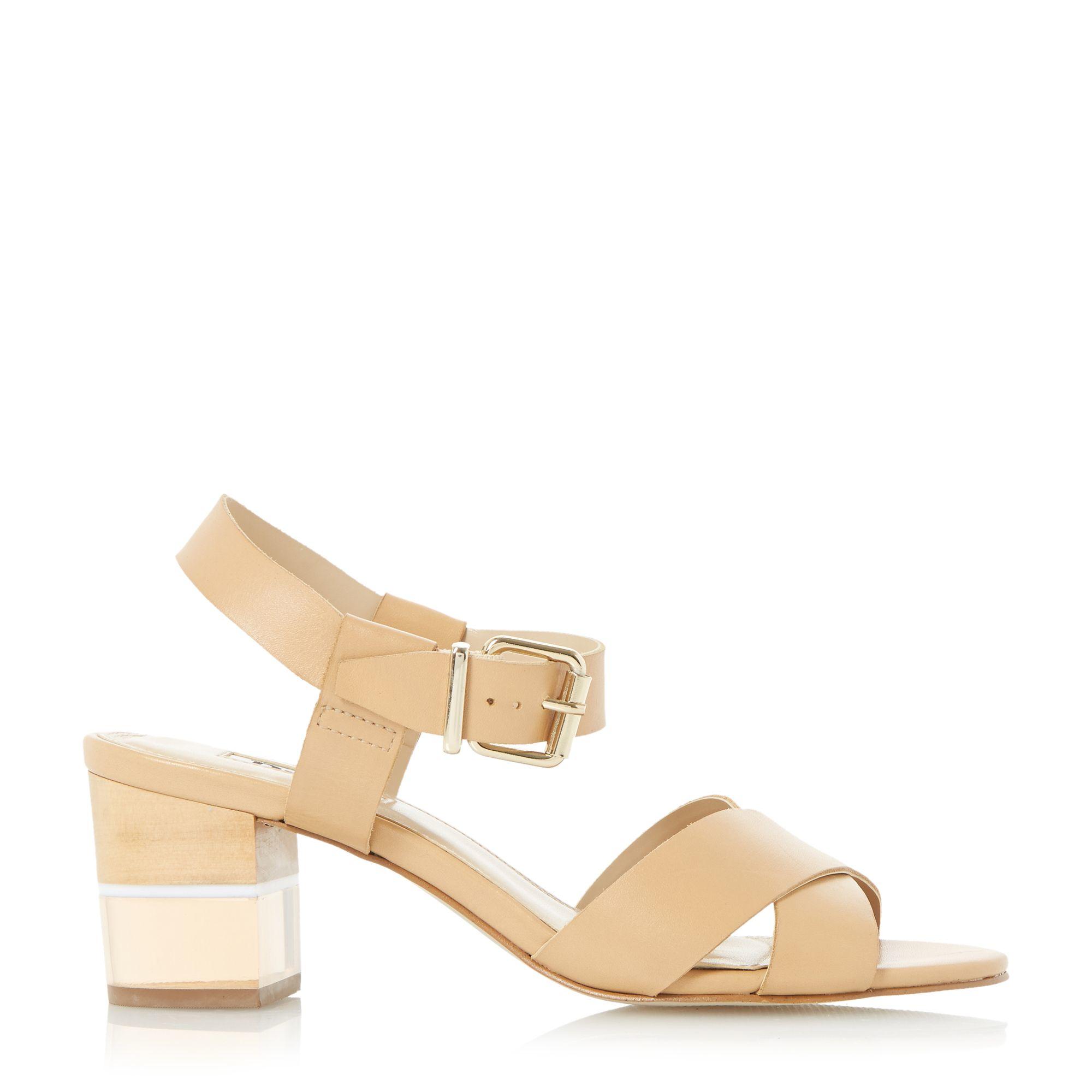 Dune Joyse Perspex Low Block Heel Sandals in Metallic | Lyst