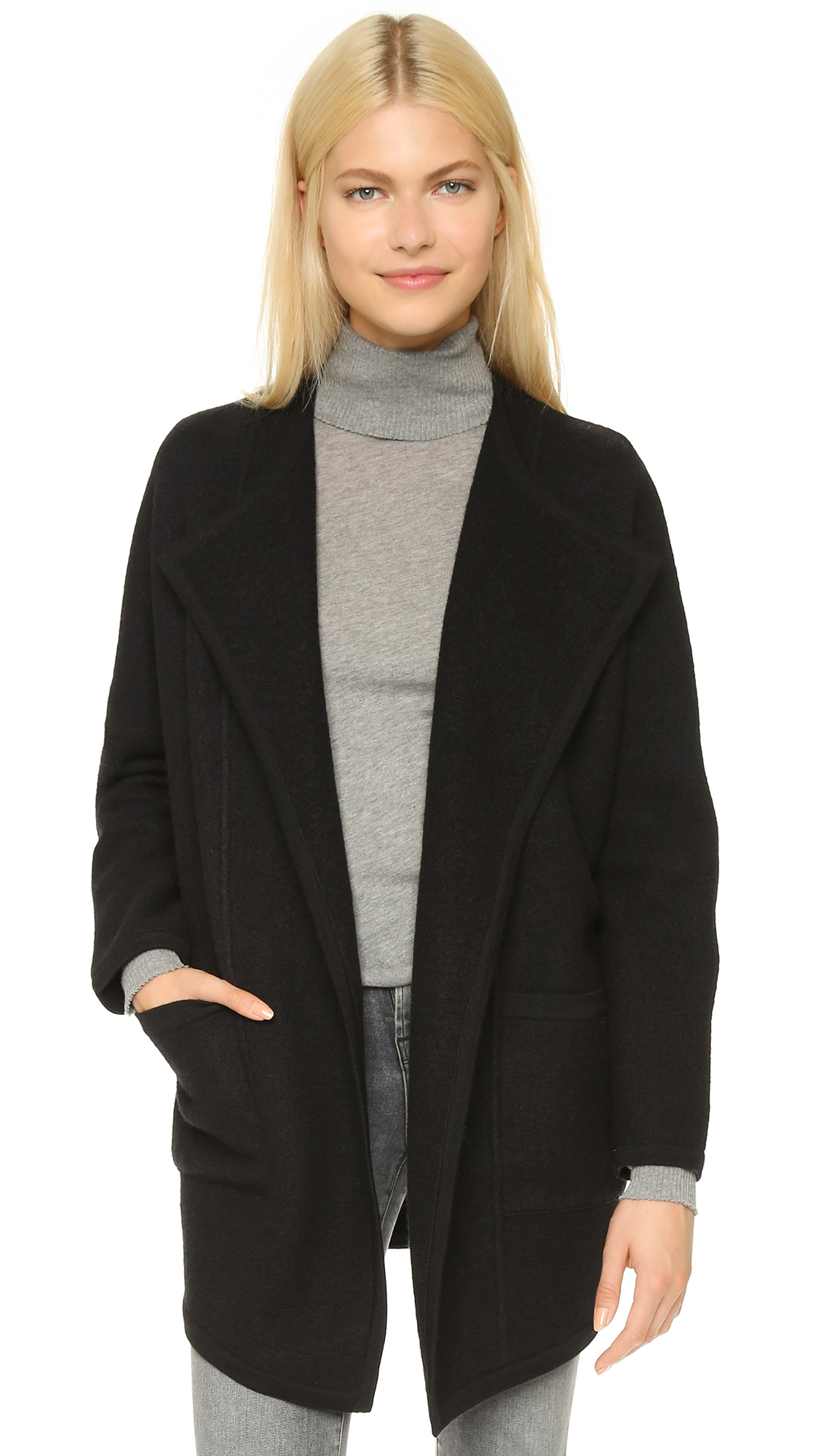 Madewell Sweater Coat - Heather Grey in Black | Lyst