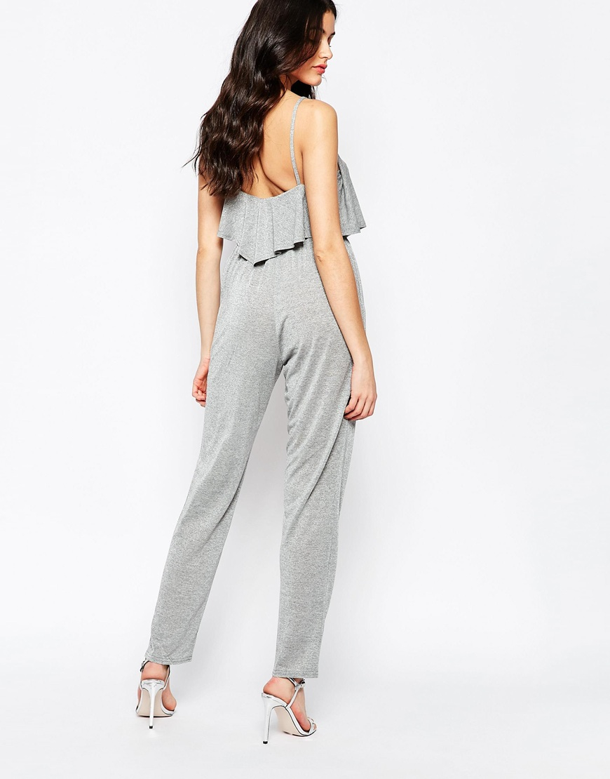 c37ba2dbd0e2 Twin sister Metallic Overlay Jumpsuit in Gray (Silver)