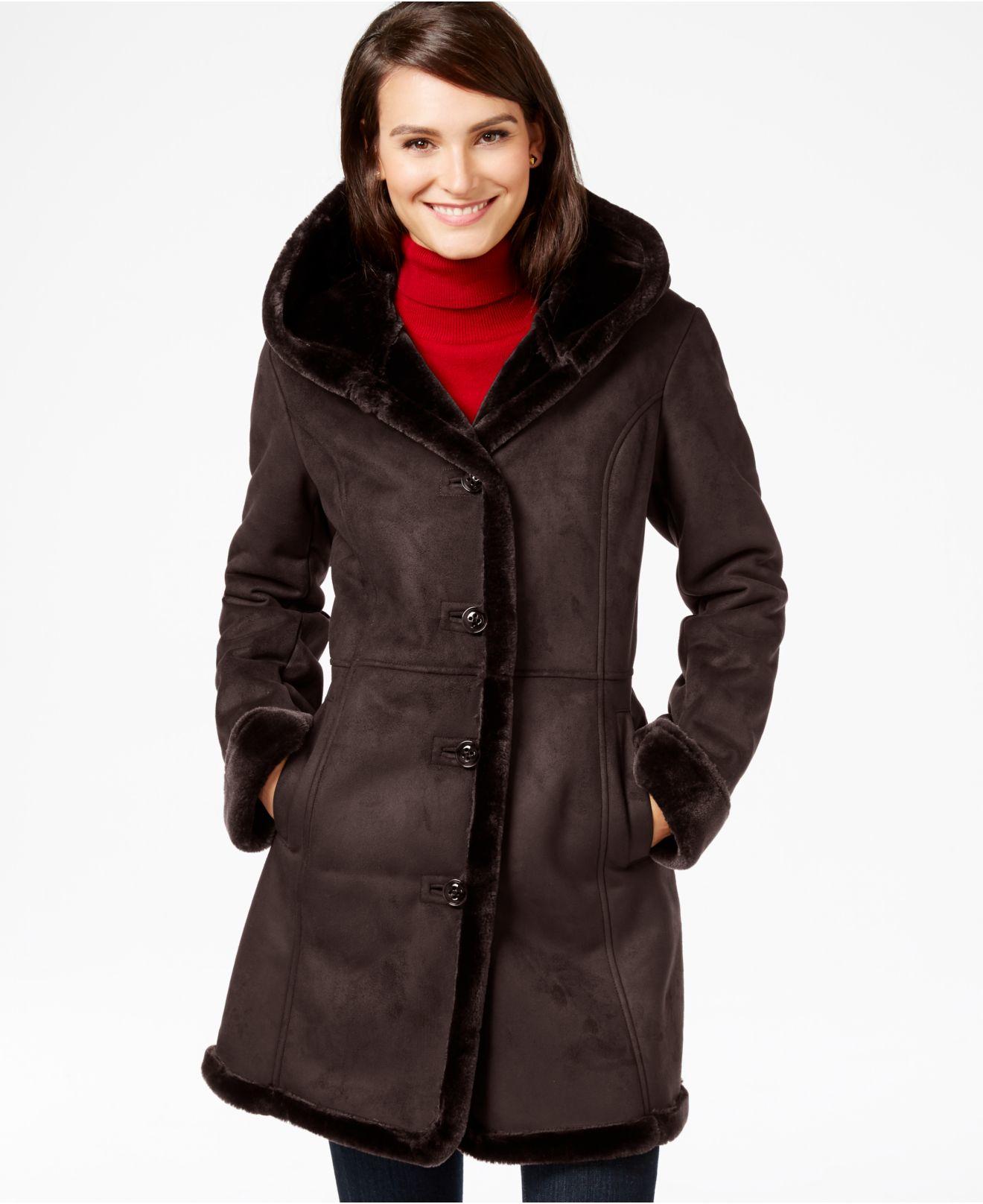 Jones new york Shawl-collar Faux-shearling Coat in Brown | Lyst