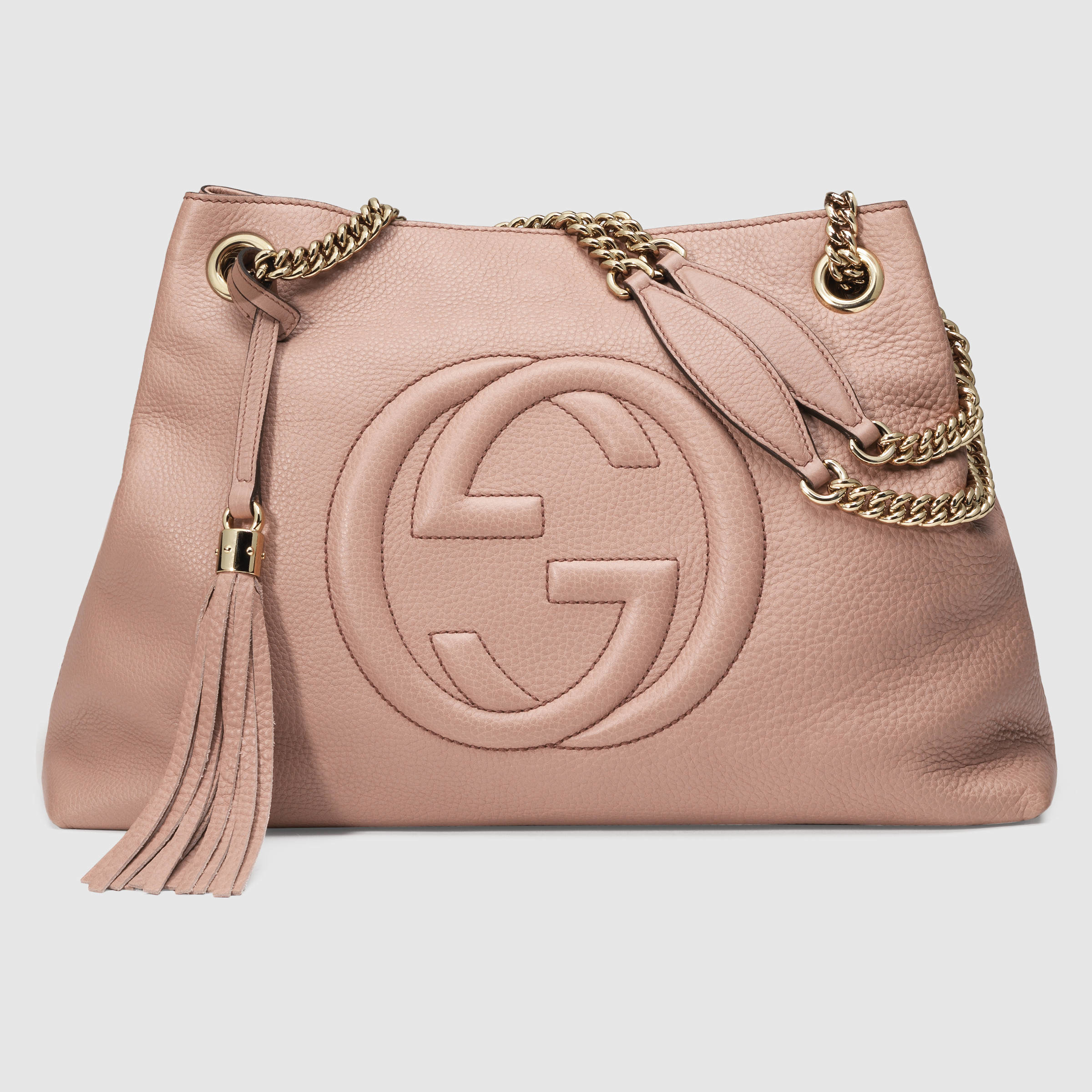 lyst gucci soho leather shoulder bag in pink. Black Bedroom Furniture Sets. Home Design Ideas