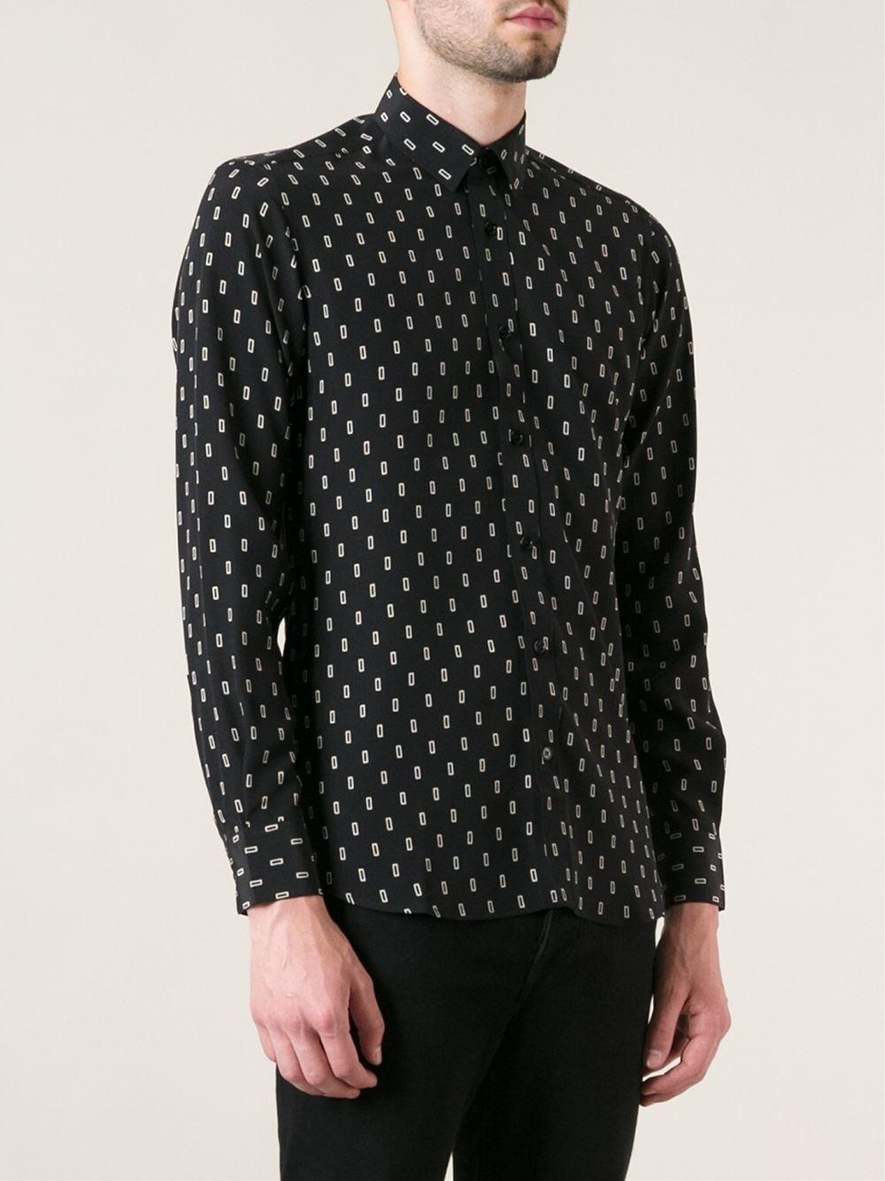 Lyst Saint Laurent Printed Shirt In Black For Men