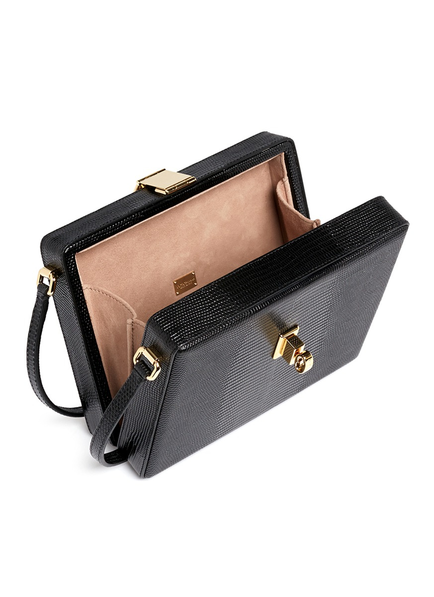 31d895abed Lyst - Dolce   Gabbana  mama Dolce  Stamped Leather Box Bag in Black