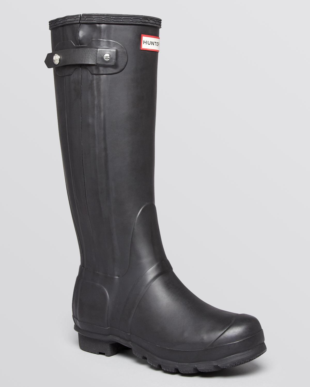 hunter rain rain boots original slim zip textured in black lyst. Black Bedroom Furniture Sets. Home Design Ideas