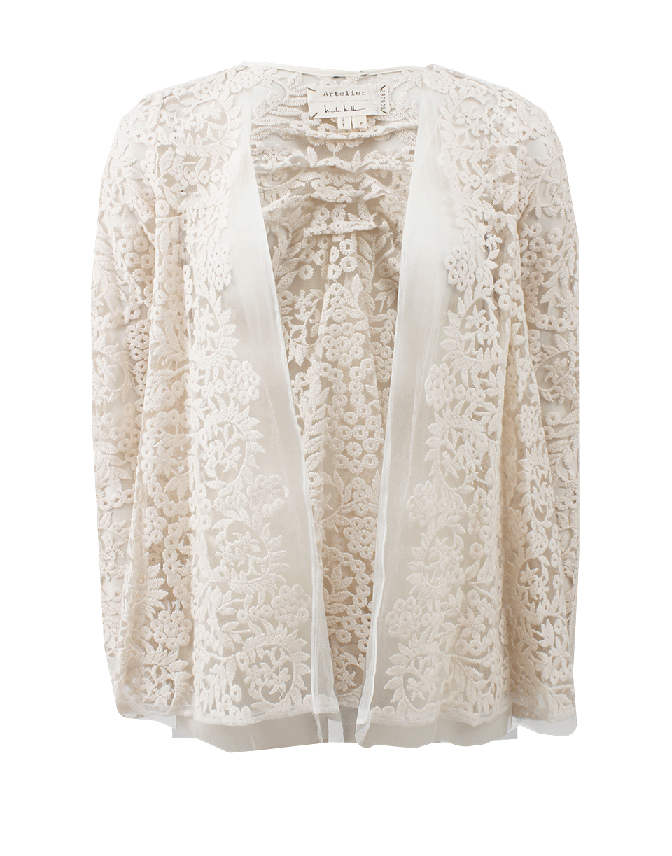 Nicole miller Lace Cardigan in White | Lyst