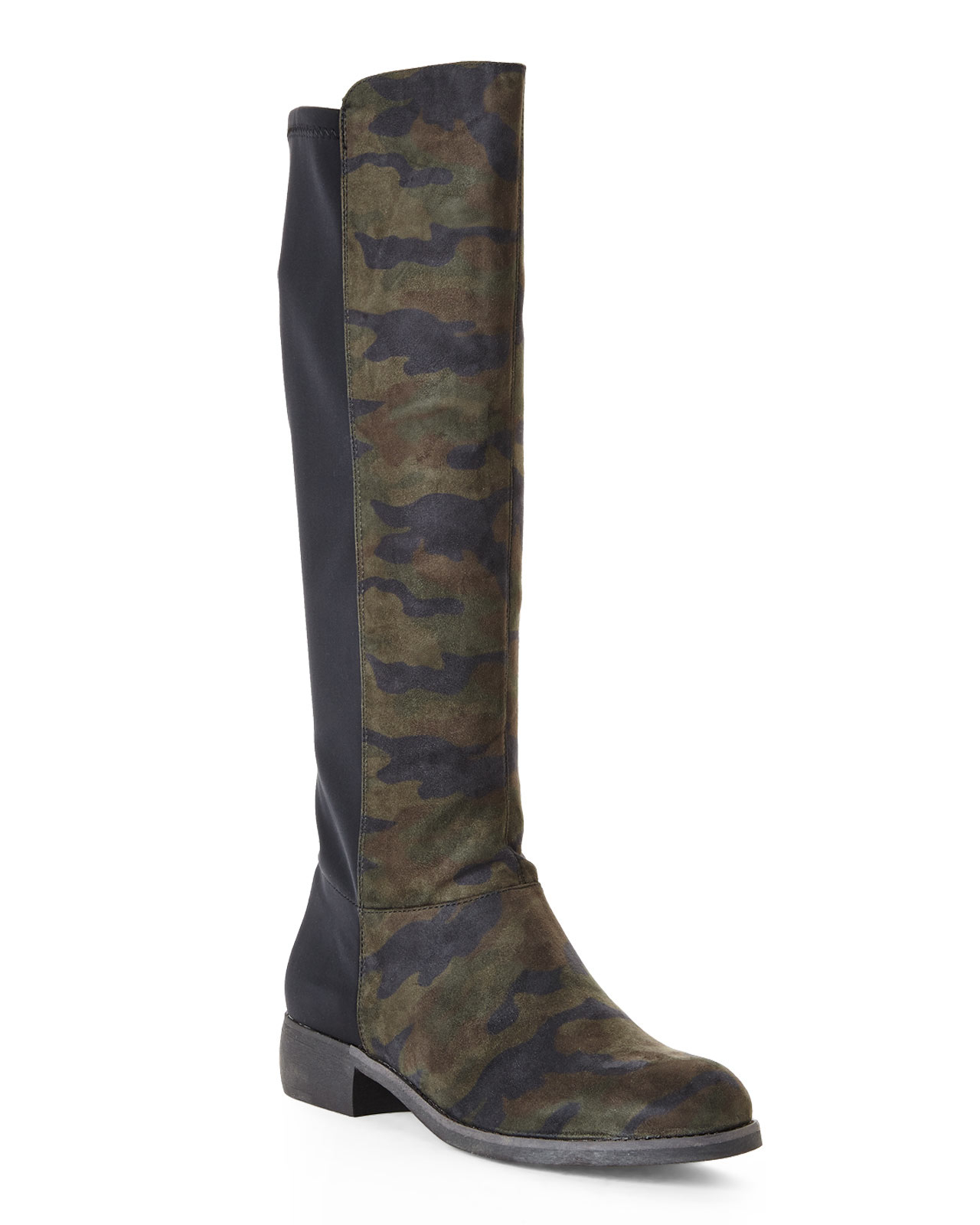 camila camouflage knee high boots in green lyst