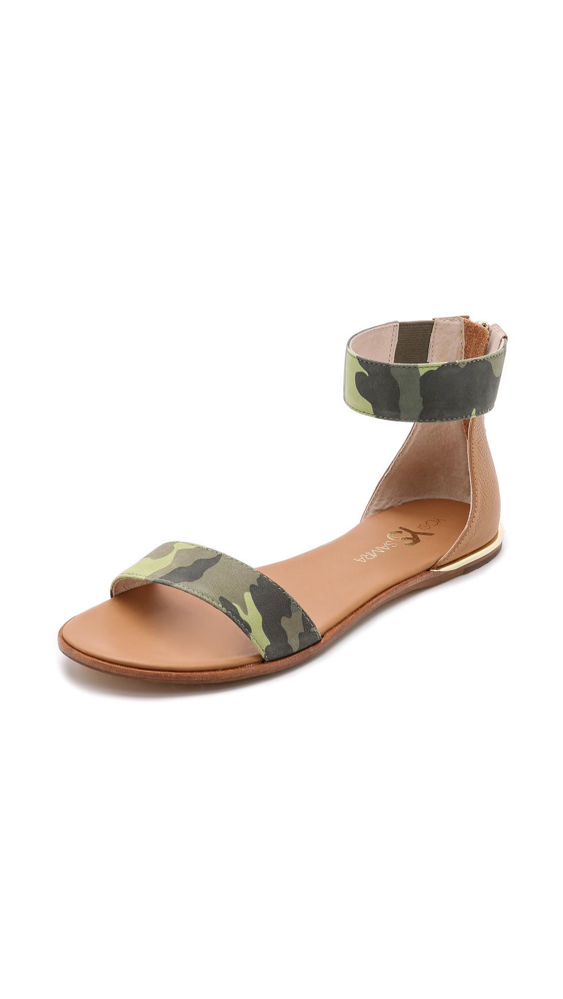 e934debc5f477 Lyst - Yosi Samra Cambelle Camo Flat Sandals - Limette sienna in Green