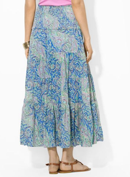 by ralph paisley smocked cotton skirt in