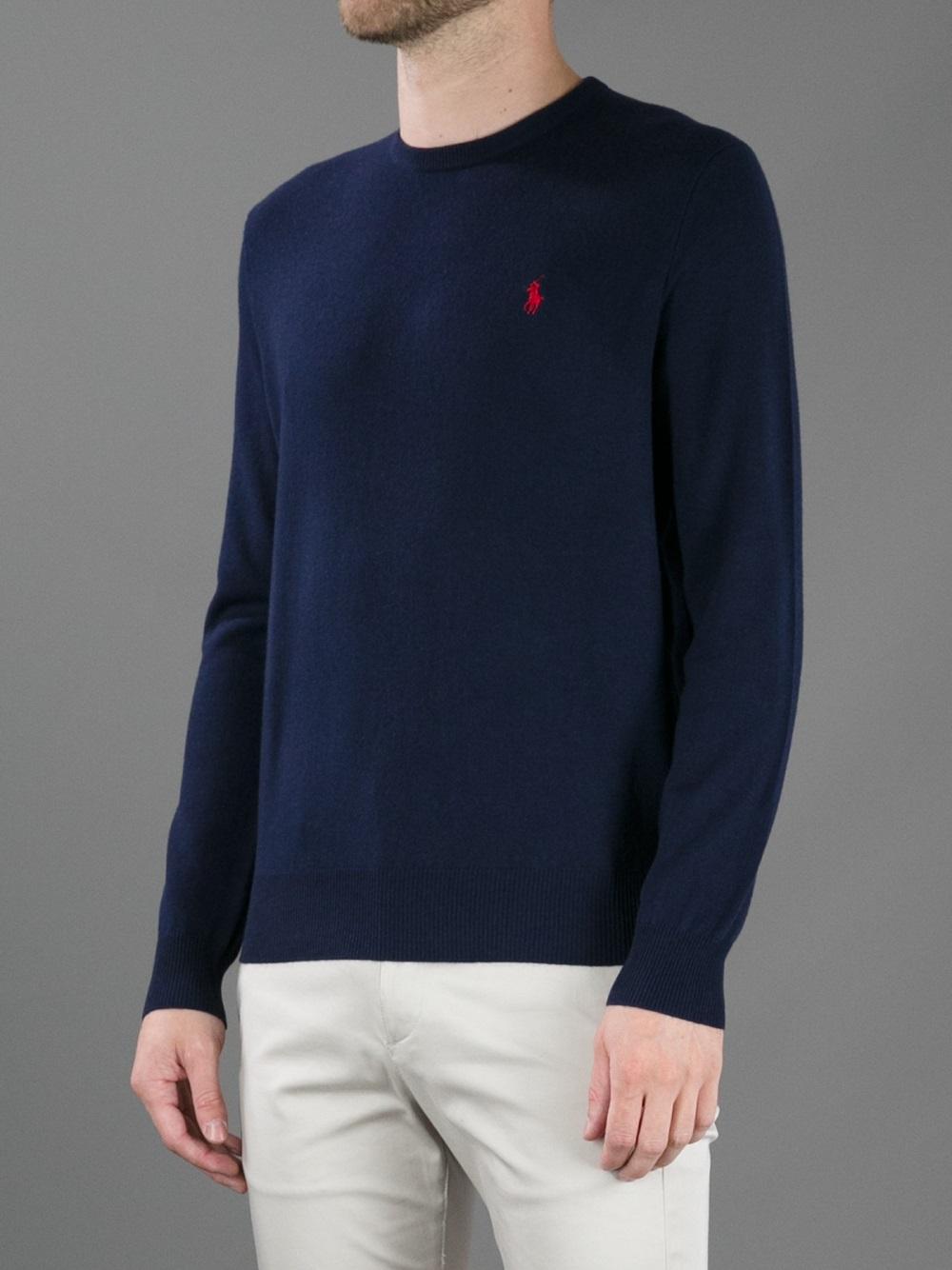 Ralph Lauren Mesh Round Neck Sweaters Men Blue