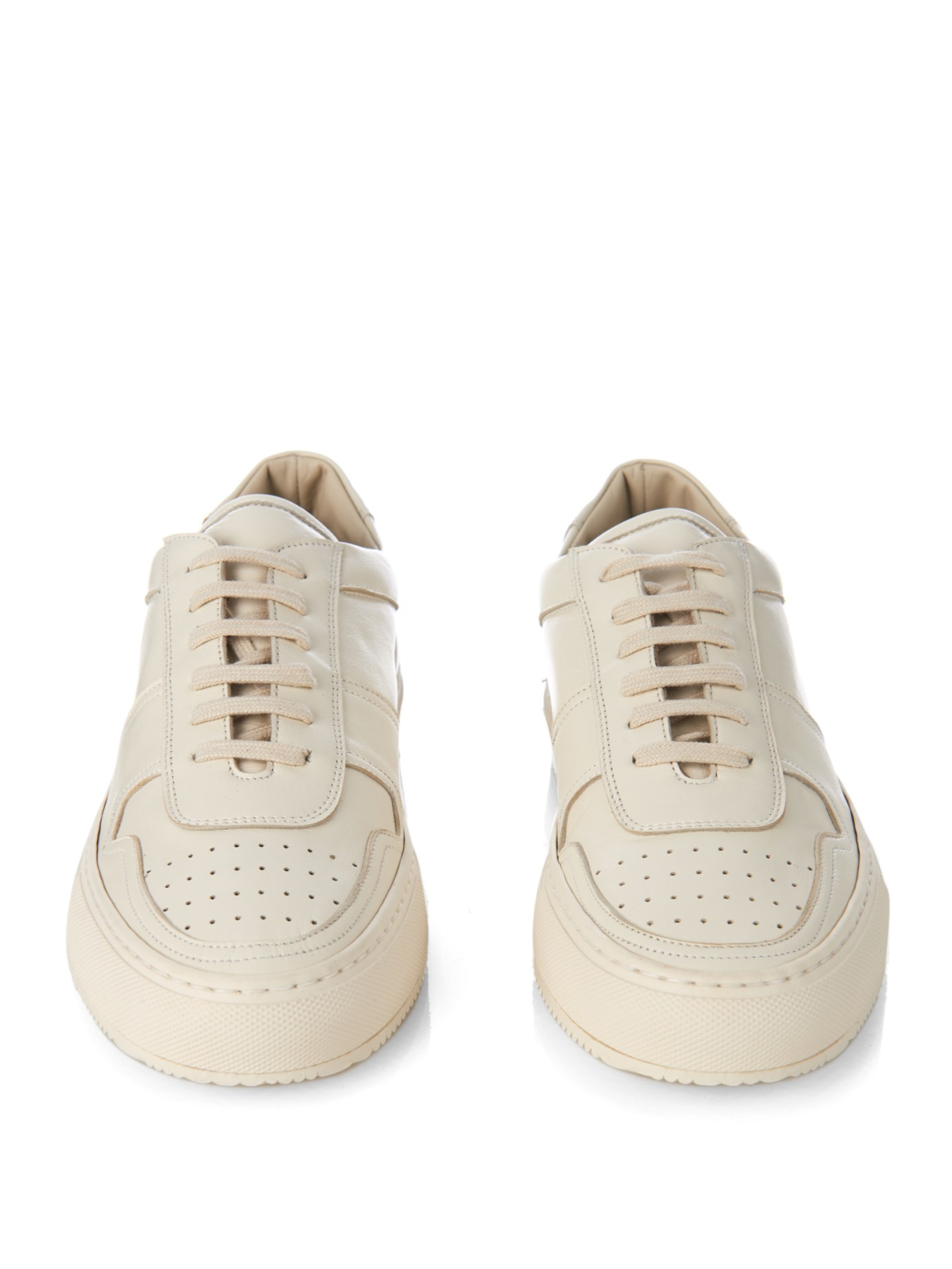 aa7efd50322a97 Common Projects B Ball Leather Low-Top Sneakers in Natural - Lyst