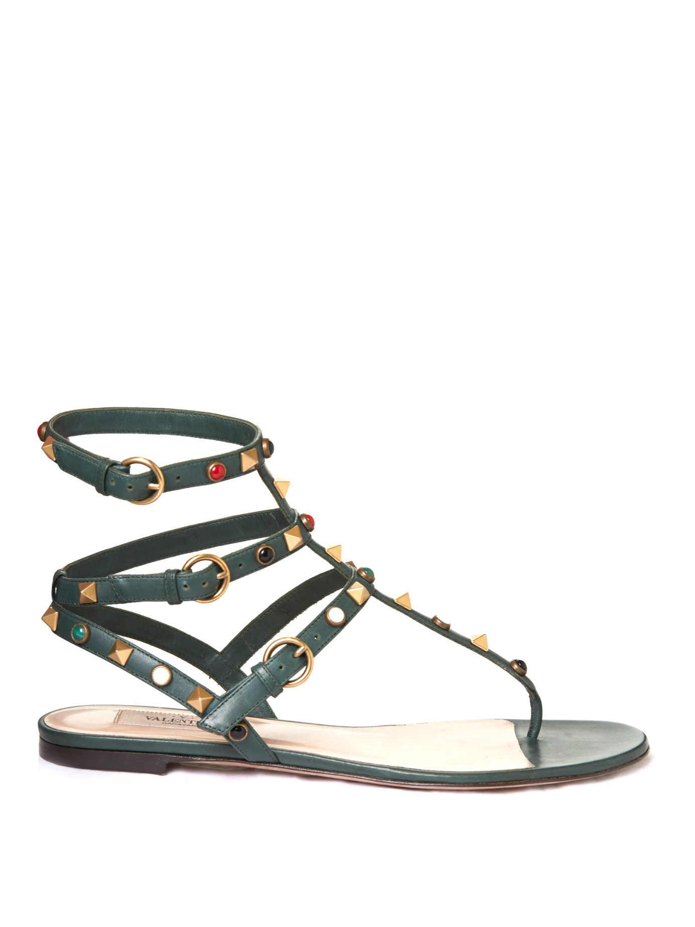 de2d7d0ed Lyst - Valentino Rockstud Rolling Leather Flat Sandals in Green