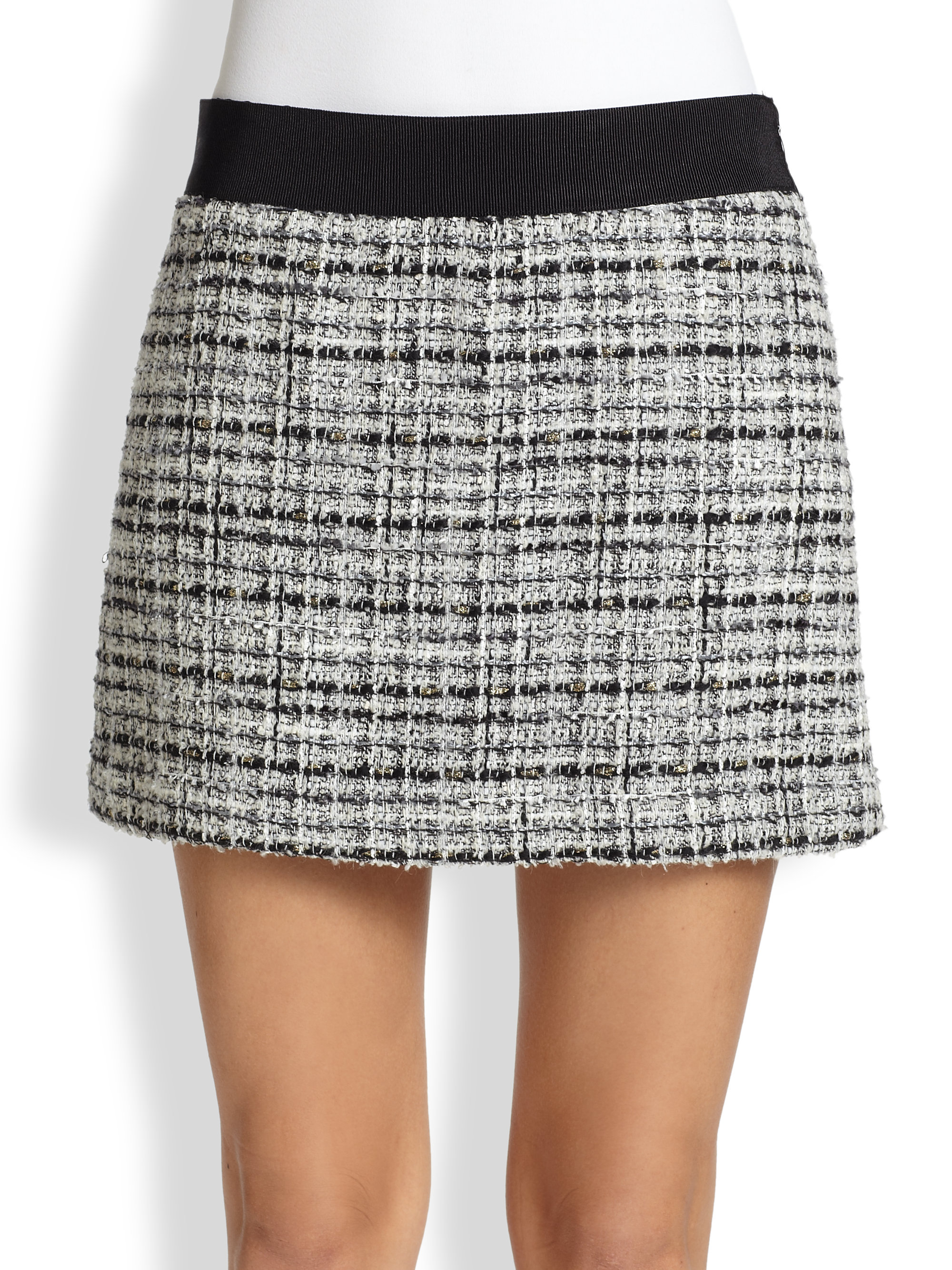 Milly Tweed Mini Skirt in Black | Lyst