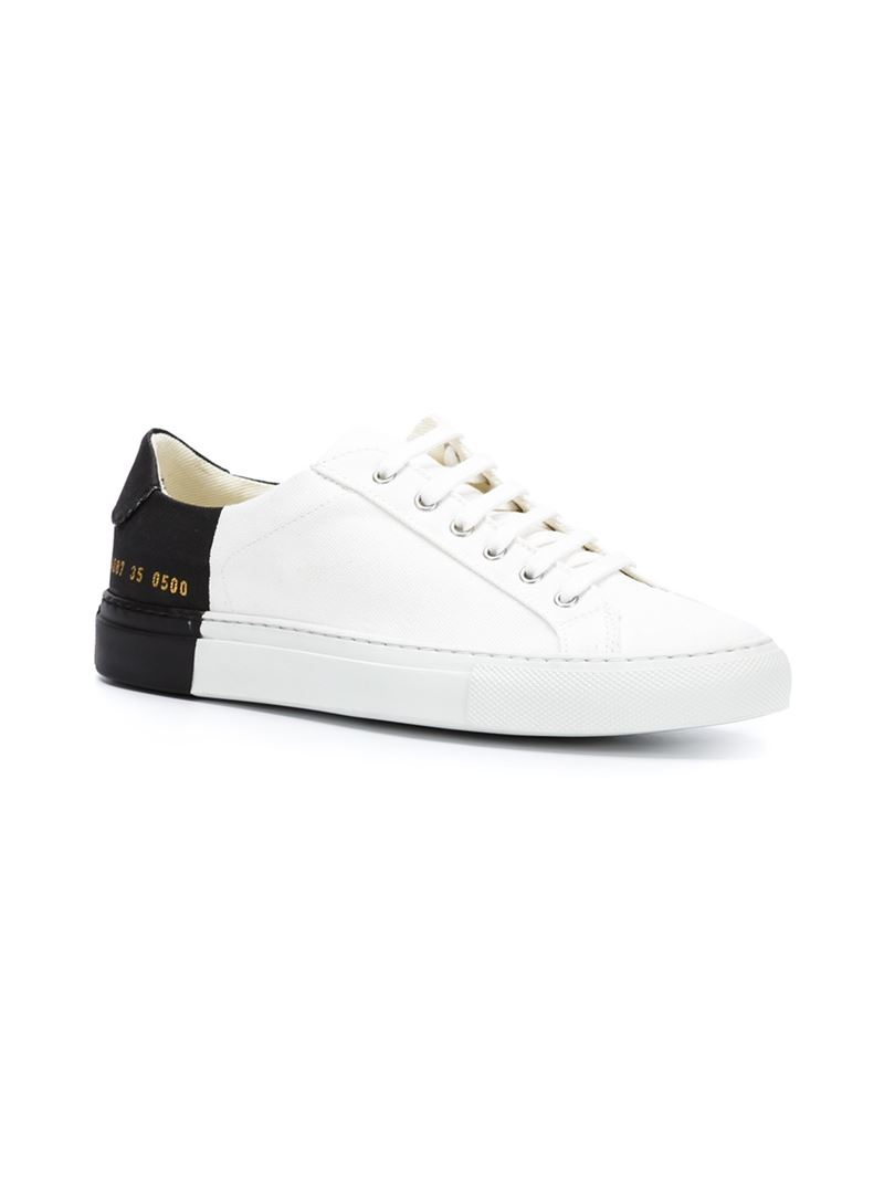 44b936fbd4c8 Lyst - Common Projects Two-Toned Canvas Low-Top Sneakers in White